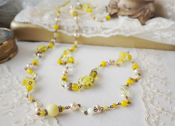 BRIGHT YELLOW LONG CHAIN NECKLACE