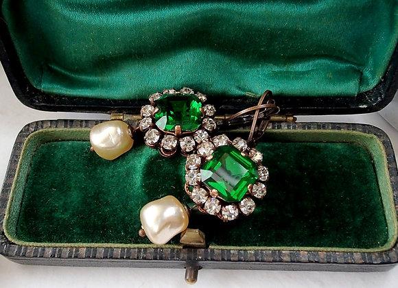 EMERALD Duchess EARRINGS green rhinestone jewelry