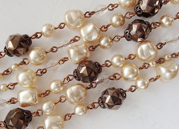 LONG PEARL CHAIN NECKLACE with Bronze vintage style jewelry