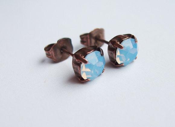 BLUE OPAL CRYSTAL STUD EARRINGS