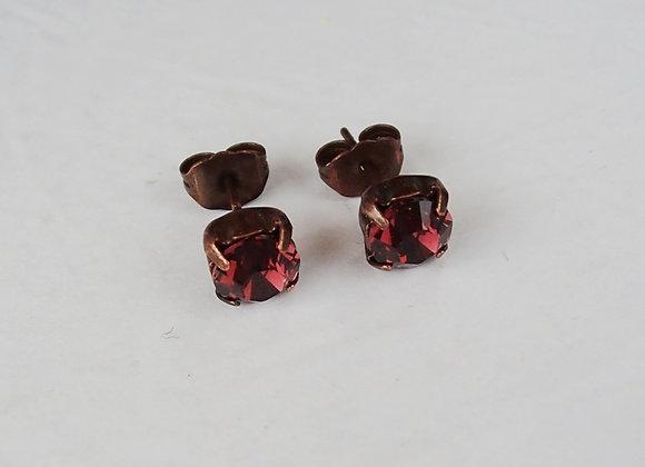 DARK RED CRYSTAL STUD EARRINGS