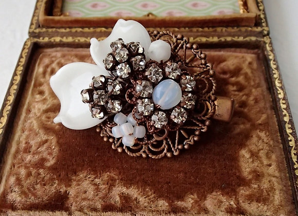 WHITE BRIDAL HAIR CLIP Petals one of a kind jewellery