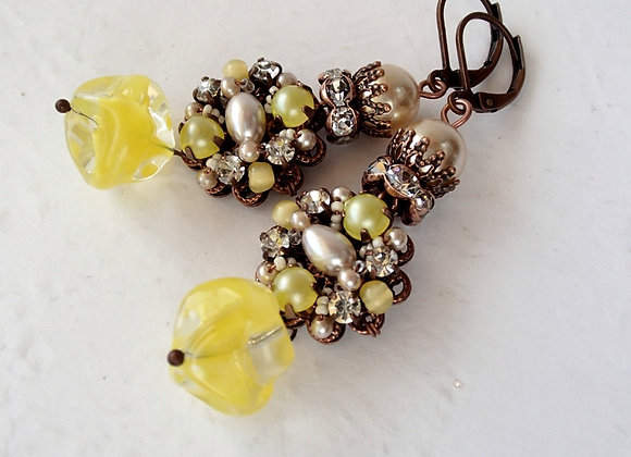 Crowned LONG YELLOW EARRINGS Marie Antoinette jewellery