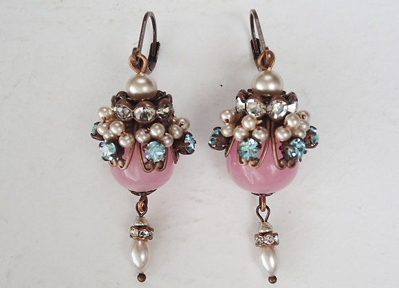 Marie Antoinette PINK EARRINGS in VINTAGE STYLE