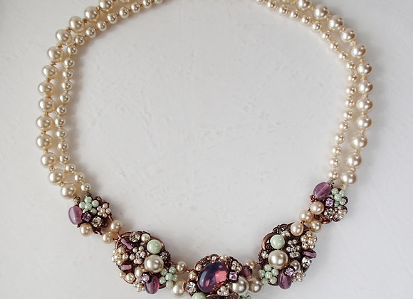 Multicolor Pearl Necklace Purple Green