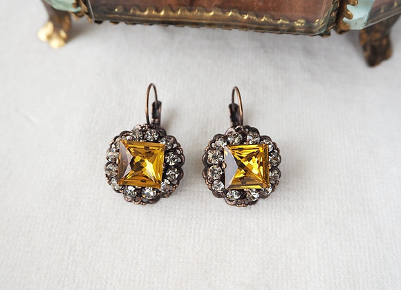 TOPAZ RHINESTONE EARRINGS with SQUARE CRYSTALS