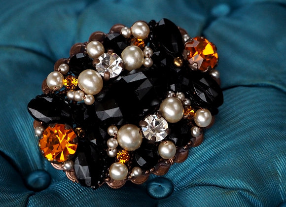 BLACK and ORANGE BROOCH side view
