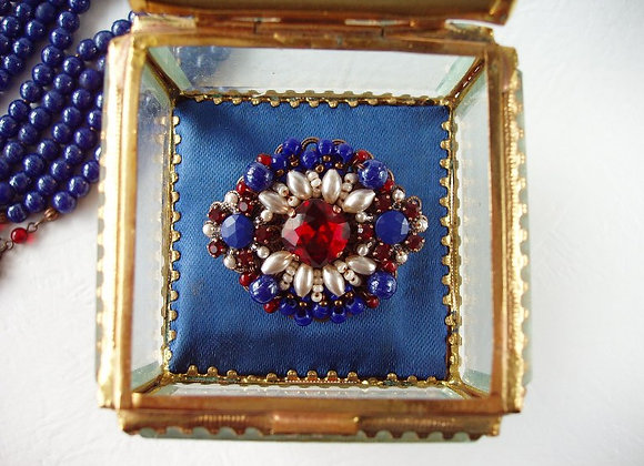 NAVY BLUE RHINESTONE BROOCH