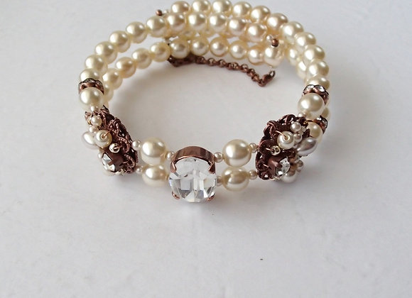 BRIDAL BRACELET CUFF with PEARLS and RHINESTONES