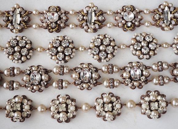 Selection of bridal bracelets. Vintage style rhinestone bracelets