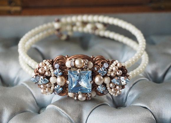 Square rhinestone cuff bracelet in vintage style