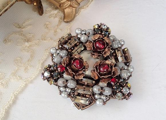 GREY RHINESTONE BROOCH vintage style jewellery