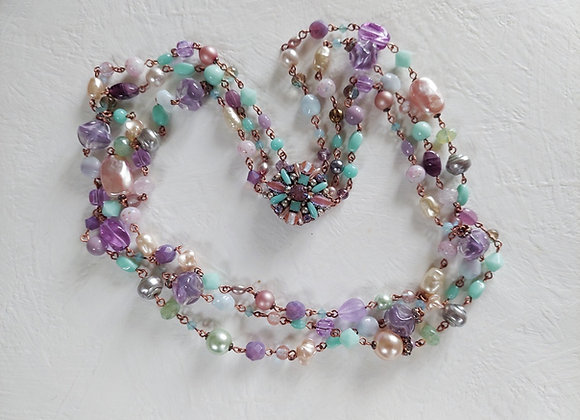 PURPLE and GREEN NECKLACE with SAPHIRET Clasp and Three Rows