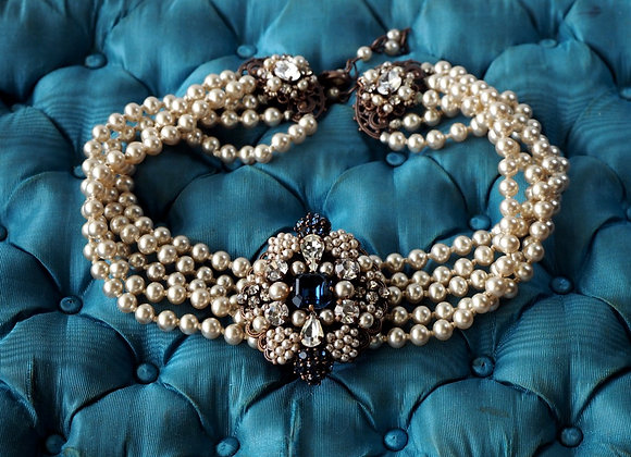 HISTORICAL STYLE PEARL NECKLACE with Montana BLUE BROOCH