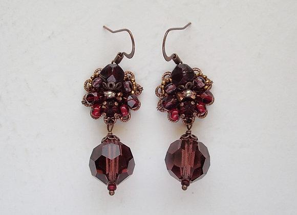 DARK RED DANGLE EARRINGS Flavors of Pomegranate