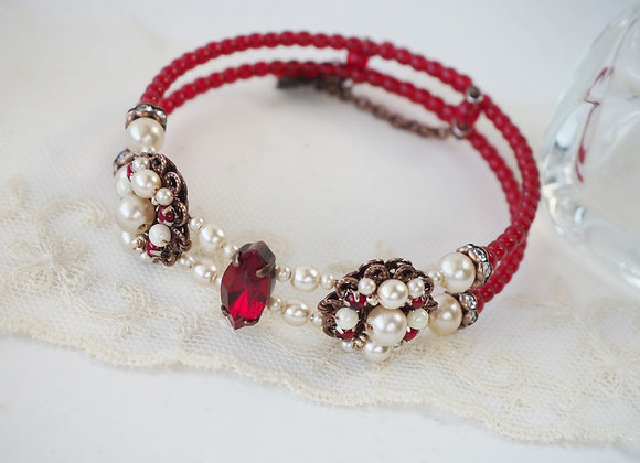 RED BRACELET CUFF with RHINESTONES and PEARLS