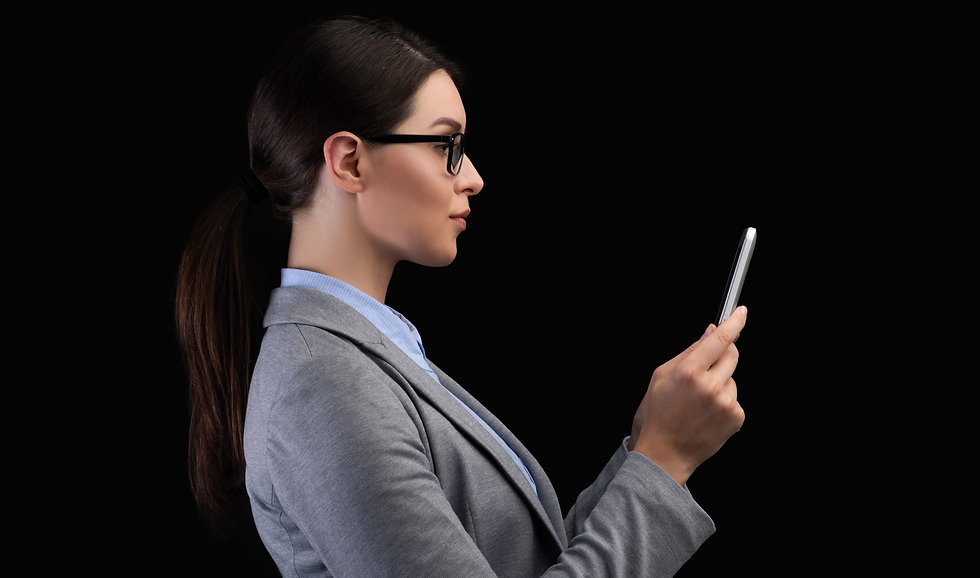 businesswoman-using-smartphone-face-reco
