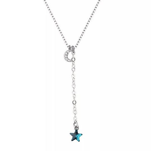S925 BLUE STAR WITH MOON NECKLACE
