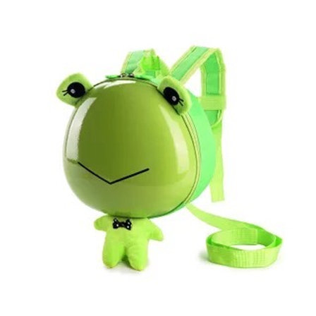 Frog kid guiding backpack