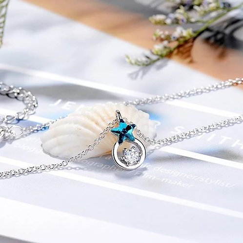 S925 BLUE STAR NECKLACE