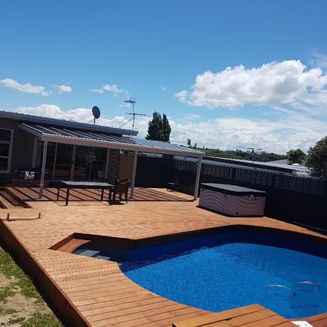 Pool deck in the sun