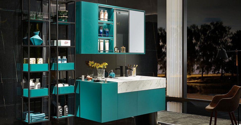 Navy-Green-Lacquer-Bathroom-Vanity-with-