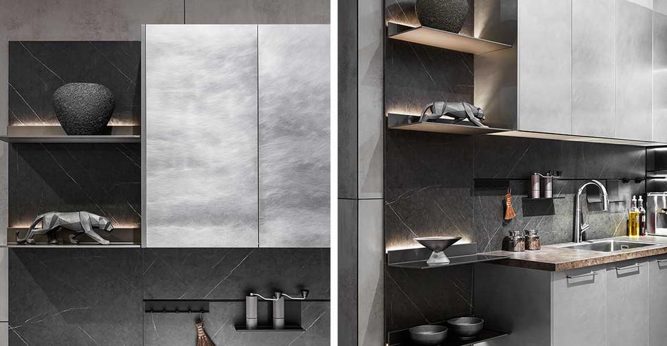 L-shaped-Grey-Metal-Foil-Kitchen-Cabinet