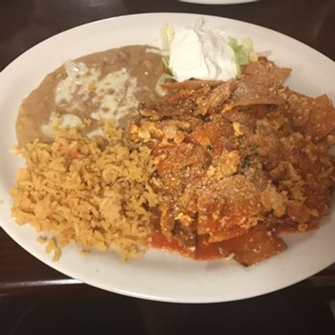 Chilaquiles with Rice & Beans