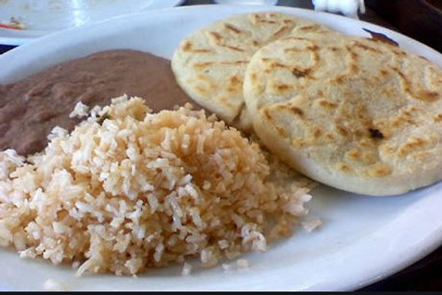 (2) Pupusas with Rice and Beans