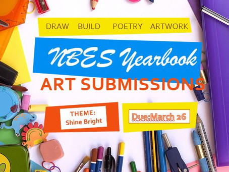 NBES 2020-2021 yearbook art submissions are due March 26!