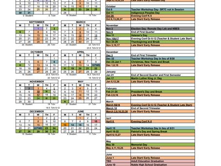 MSAD #60 School Calendar 2021-2022