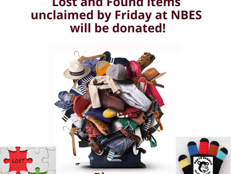 Please claim your items from the NBES Lost and Found!