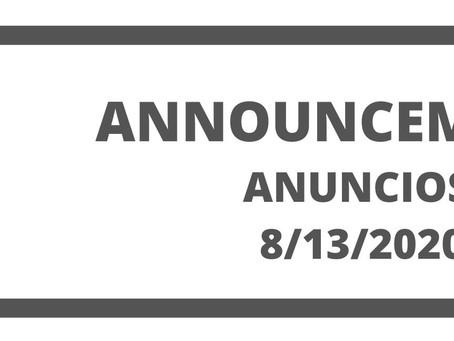 Co. Announcements 8/13/20