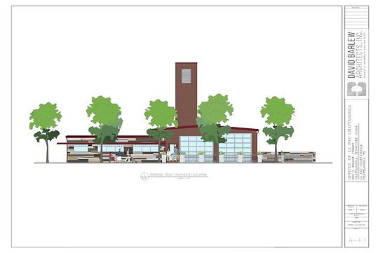 front elevation w people colored red tre