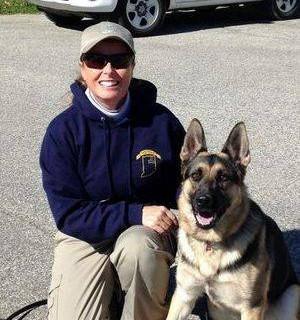 Jan Harkner-Abbs and Cursa IPO 3  International Police Work Dog Assn Human Remains Detection Dog