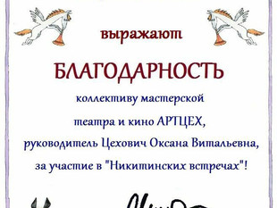 Благодарность за участие в фестивале :)
