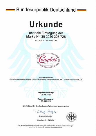 Urkunde für Marke Complett