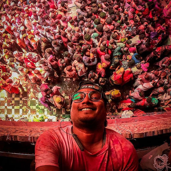 A selfie with Holi at Banke bihari temple at brindavan. this one is the most colourful festiva in india.