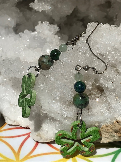 Boucles turquoise, chrysocole, amazonite