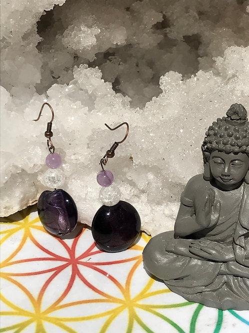 Boucles Améthyste et Cristal de roche