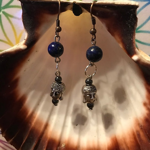 Boucles Lapis Lazuli Hématite Boudha