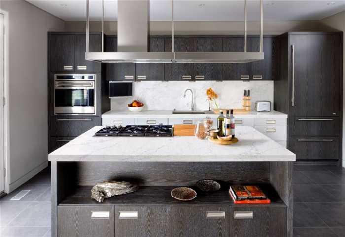 modern ktichen with white stone countertop