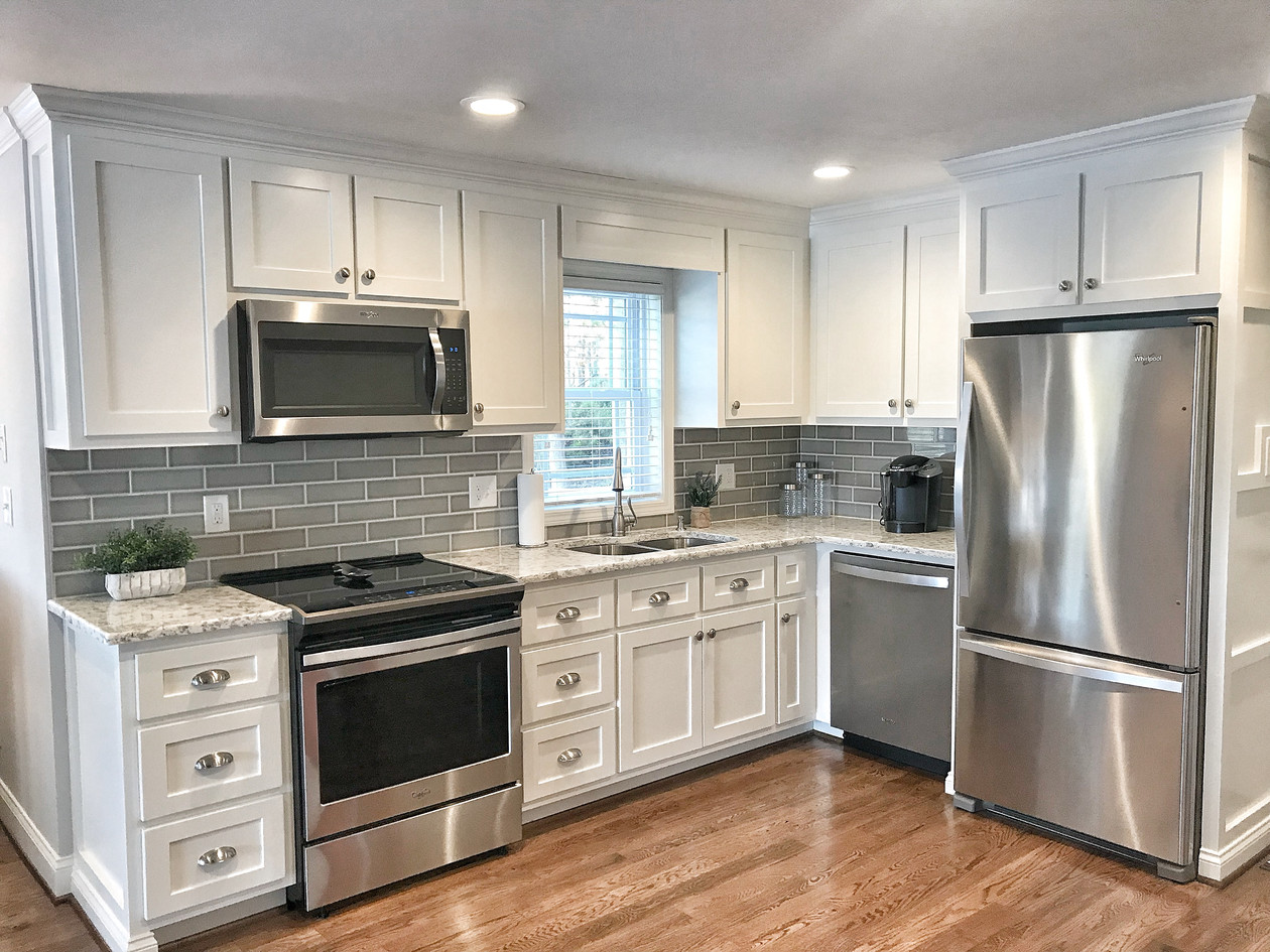 Kitchen Remodel Ideas - white with stone counter and tile backsplash