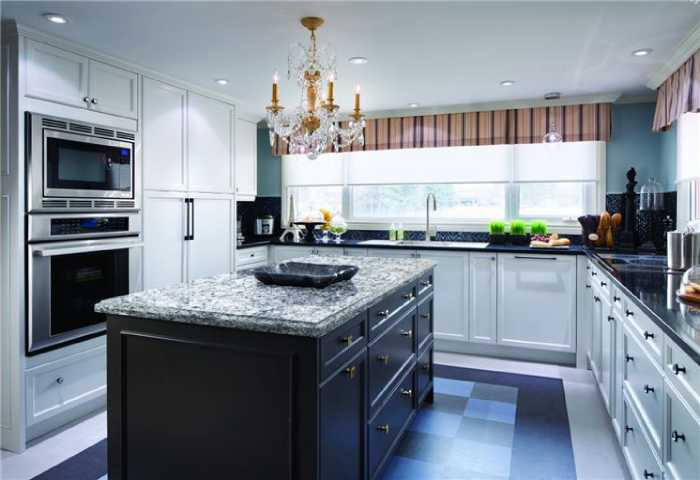 granite kithcen counter with white cabinets
