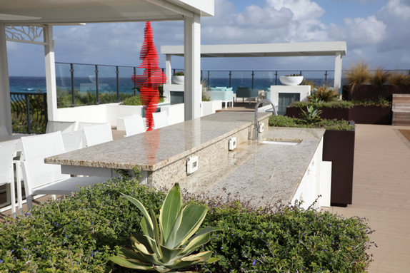 Beautiful installation of granite counter outdoors