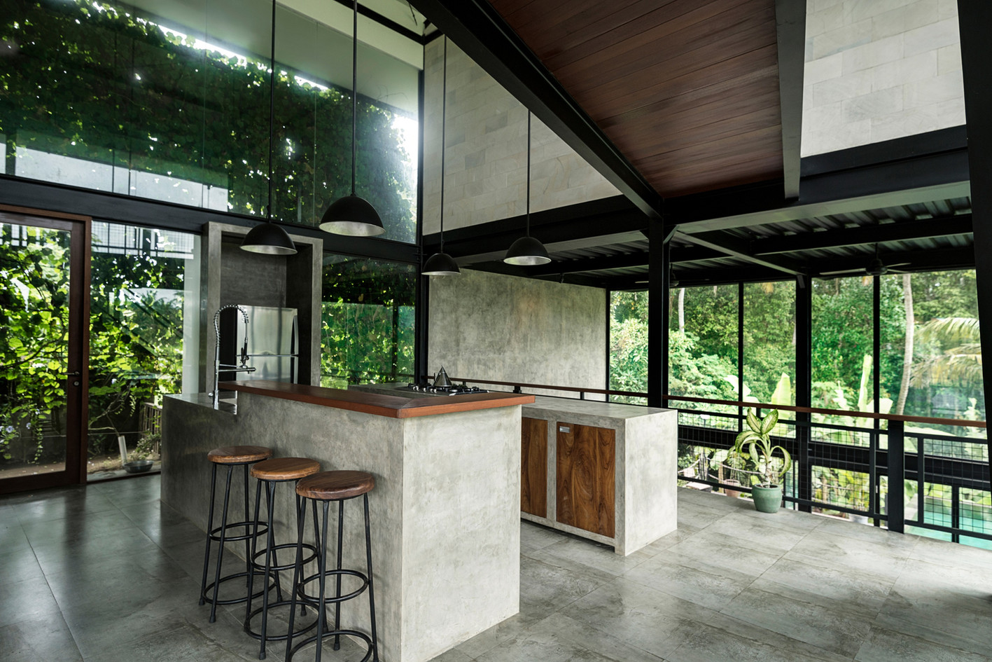 Gorgeous kitchen with stone counters and tile flooring