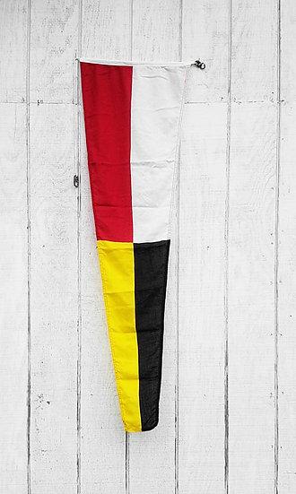Vintage Nautical Flag   Red, White, Black + Yellow Pennate