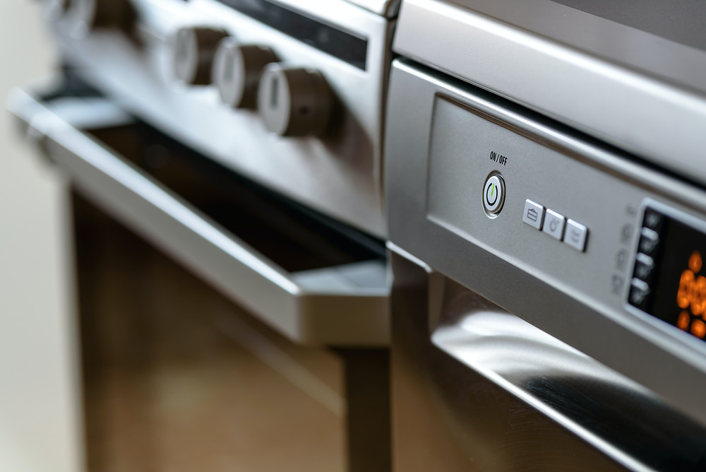 Modern high-end stainless steel appliances for the kitchen.