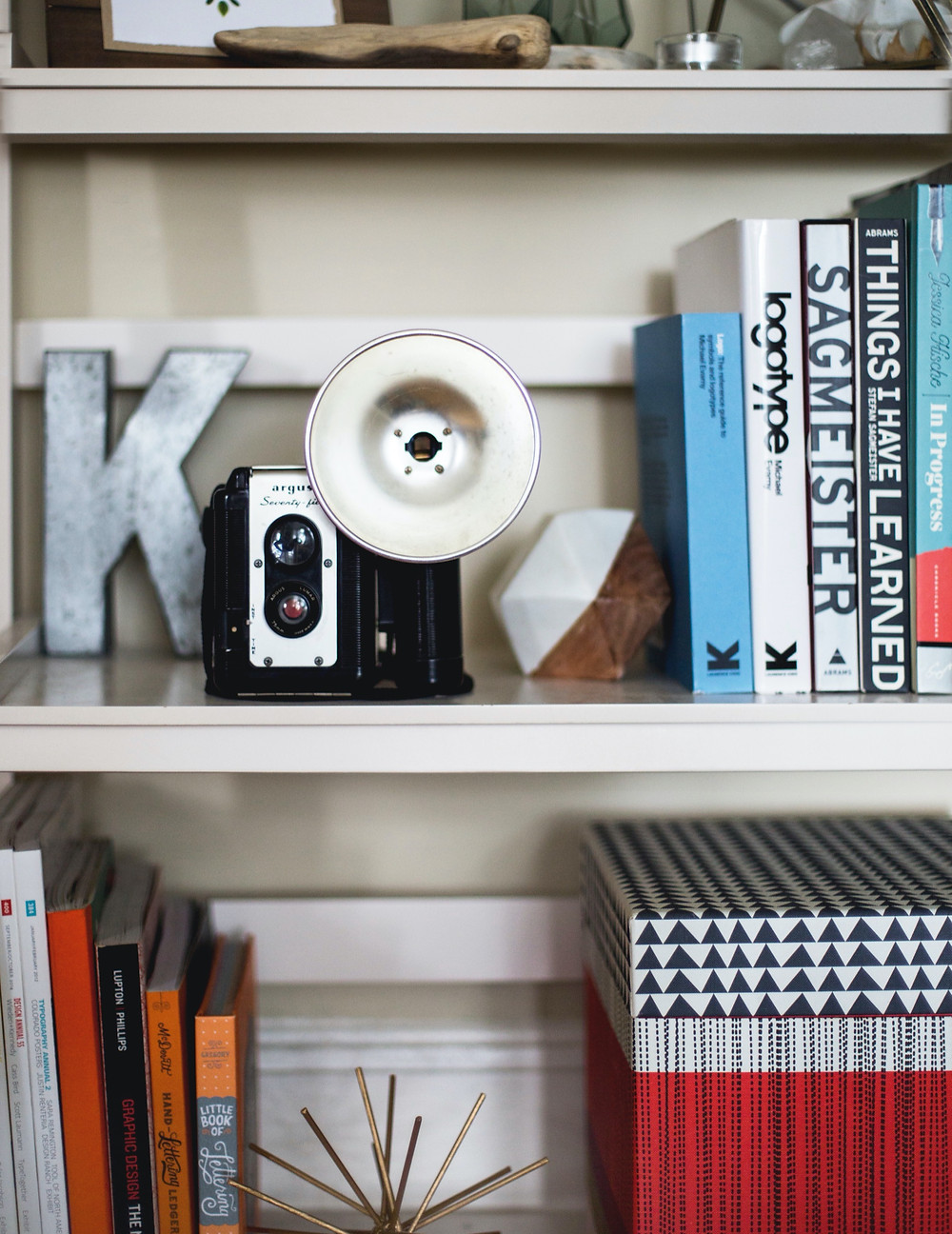 Bookshelf full of familiar knick-knacks, vintage camera, books, and other sentimental pieces.