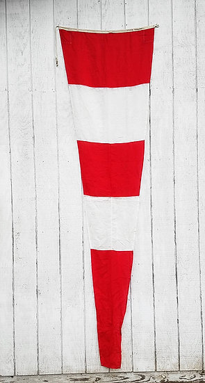 Vintage Nautical Flag | White + Red Striped Pennate